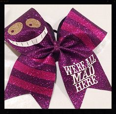 Cheer Bow - Cheshire Cat - We're All Mad Here - Alice Wonderland - Boutiquebows