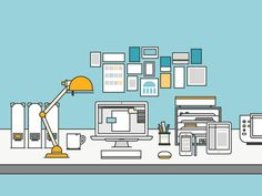 Super Cool Home Offices Illustrations by Yihsuan Lu