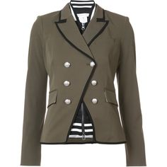 Veronica Beard button up jacket (1 065 AUD) ❤ liked on Polyvore featuring outerwear, jackets, green, button down jacket, brown jacket, veronica beard jacket, veronica beard and button up jacket