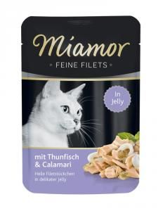Miamor Feine Filets Thun & Calamari 100g Calamari, Filets, Jello, Pet Shop, Cover, Buffy, Sauce, Cats, Meal