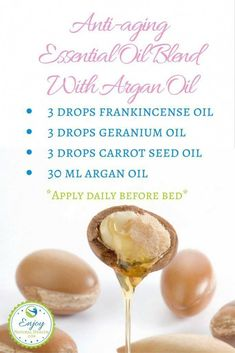 This anti-aging essential oil blend with argan oil keeps my skin beautiful! If you want youthful skin without trying too hard, you need to give this a try! This anti-aging essential oil Anti Aging Tips, Best Anti Aging, Anti Aging Skin Care, Natural Skin Care, Natural Health, Natural Oil, Natural Face, Creme Anti Age, Anti Aging Cream