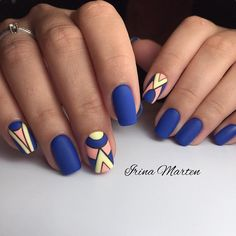 17 awesome geometric nail art designs you will fall in love with - bright summer geometric nails Stylish Nails, Trendy Nails, Stylish Outfits, Hair And Nails, My Nails, Matte Nails, Geometric Nail Art, Manicure E Pedicure, Fall Manicure