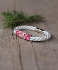 White silver pink rope bracelet  magnetic closure  by Naryajewelry