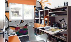 KIBUC, muebles y complementos - Dormitorio juvenil colección Home at Home de Kibuc. El escritorio plegable es una buena solución para habitaciones pequeñas.