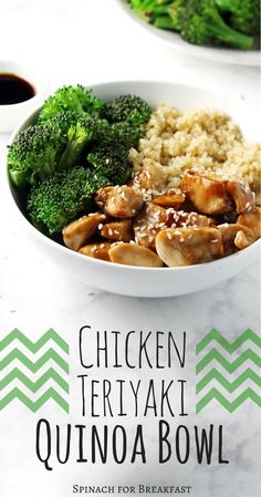 Chicken Teriyaki Quinoa Bowl - a quick, easy and healthy recipe for lunch or dinner! It is also so easy to mix with different vegetables, proteins, etc. Have fun - Madrid - Chicken Teriyaki Quinoa Bowl – a quick, easy and healthy recipe … … – - Healthy Food Recipes, Healthy Snacks, Quinoa Recipes Lunch, Chicken Quinoa Recipes, Healthy Grains, Vegetarian Recipes, Healthy Recipes For Dinner, Dessert Healthy, Breakfast Healthy