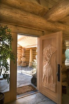 Carved front door - Pioneer Log Homes of BC Log Cabin Living, Log Cabin Homes, Log Cabins, Cabin Doors, Luxury Cabin, Cabins And Cottages, Cabins In The Woods, Cabana, My Dream Home