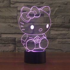 Good-looking Hello Kitty USB Touch Switch Night Light Lamp LED Light Atmosphere Bedroom Desk lamp as Girl Birthday Gift Hello Kitty Haus, Hello Kitty Bedroom, Hello Kitty Items, Hello Kitty Decor, 3d Optical Illusions, Touch Table Lamps, 3d Light, Light Touch, Novelty Lighting