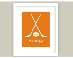 Hockey Décor Art Print. Sports Themed Modern Nursery & Childrens Art Print in Orange. Great for your little future athlete. Perfect for a sports