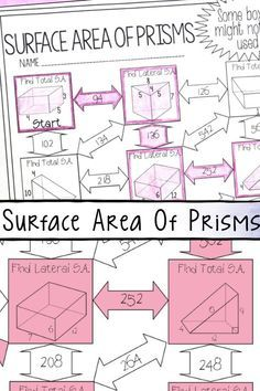 This Surface Area Of Prisms Maze Worksheet Was The Perfect Activity To Teach My 6th Grade Math And Area Worksheets Math Fact Worksheets Surface Area Activities Surface area of prism worksheets