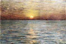 La Mer: Coucher de soleil, huile sur panneau de Dwight William Tryon (1849-1925, United States)