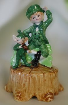 Lefton China green pixie  leprechaun music by mudpudlesndandylines, $60.00