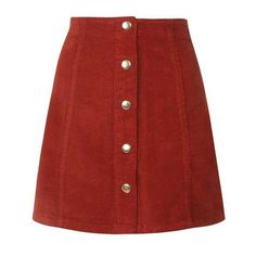 Cord Button Front A-Line Skirt ❤ liked on Polyvore featuring skirts, bottoms, red a line skirt, cord skirt, red skirt, knee length a line skirt and a-line skirts