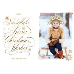 Snowflake Kiss Christmas Wishes Gold Script Photo Holiday Card: Snowflake Kiss Christmas Wishes Gold Script Photo Holiday Card by moodthology Christmas Photo Cards, Christmas Wishes, Christmas Photos, Holiday Cards, Snowflakes, Script, Kiss, Invitations, Gold