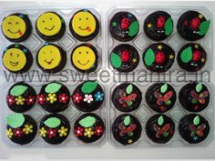 Homemade Eggless Custom Smiley, Lady bugs, Butterfly theme birthday cupcakes at Aundh, Pune