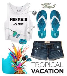 """""""TROPICAL VACATION #MermaidDream"""" by drerak ❤ liked on Polyvore featuring Hollister Co., Elements, Alex and Ani, Blooming Lotus Jewelry, Bling Jewelry and Christian Dior"""