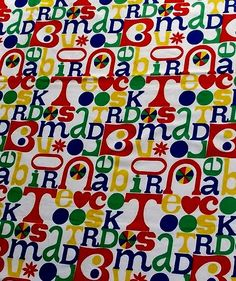 unknown language soft canvas weight vintage primary color fabric - 48 wide