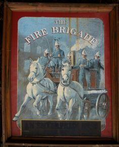 Antique Pub Sign The Fire Brigade