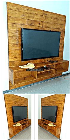 This pallets wall media console is another fabulous pallet project. It can be easily crafted in a day. Few basic crafting tools are required to create this stunning wood furniture item such as glue gun, drill machine, and nails etc.This pallets wood project will definitely re-transform your place with great wooden construction in your home.