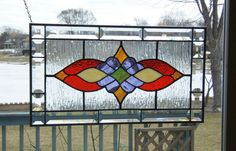 Victorian style beveled stained glass panel window Red by SGHovel, $119.00