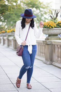 Tie knot shirt, oxford shoes, and wool hat perfect for Fall    Fall Fashion, Fall outfits, Fall style