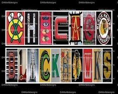 NHL Chicago Blackhawks Framed Alphabet Photo Art