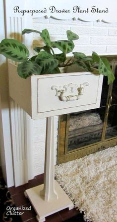 furniture decor an up cycled drawer pedestal plant stand, home decor, repurposing upcycling Furniture Projects, Furniture Makeover, Home Projects, Diy Furniture, Furniture Outlet, Furniture Stores, Furniture Design, Vintage Furniture, Automotive Furniture