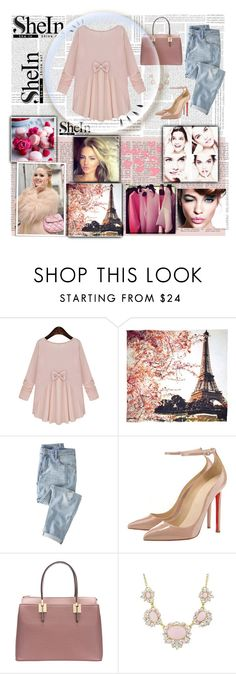 """""""SheIn: Pink Round Neck Long Sleeve Bow Loose Blouse"""" by miss-maca ❤ liked on Polyvore featuring Cotton Candy, Fay et Fille, Wrap, Old Navy and shein"""