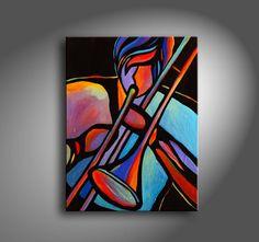 "18"" x 24"" Original Acrylic Painting Abstract Art music Trombone Player Jazz by Mike Daneshi"