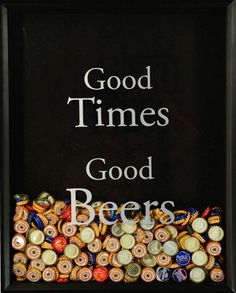Quadro Good times, Good beers do Beer Cap Collector Shadow Box