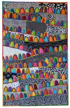 Gallery of contemporary art quilts by Maryline Collioud-Robert, patchwork, fused and reverse applique. Patchwork Patterns, Patchwork Quilting, Applique Quilts, Quilt Patterns, Quilting Projects, Quilting Designs, Art Projects, Quilting Ideas, Kunst Der Aborigines