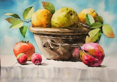 Watercolor Fruit, Watercolor Flowers, Still Life Photography, Art Gallery, Coconut, Colours, Fine Art, Drawings, Floral