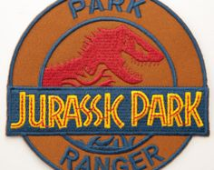 """Jurassic Park Iron on Patch 4"""" Embroidered Park Ranger Badge Dinosaur T-Rex Parche Toppa Aufnäher - Free Shipping!"""