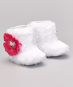 Another great find on #zulily! White & Pink Faux Fur Flower Boot by Baby Essentials #zulilyfinds