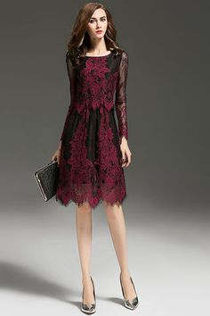 $87.99 Burgundy Sheer Sleeves Embroidered Lace Dress