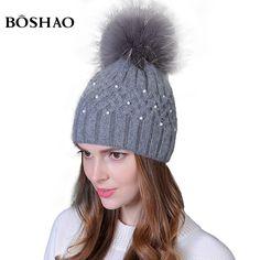 Genuine Fur 100% Natural Raccoon Hairball Winter Rabbit Double-deck Velvet Hats For Women Pearl Embed Caps Skullies Beanies