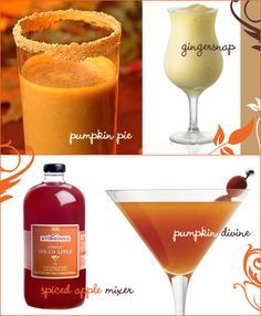Pumpkin Pie Cocktail • 1 oz Malibu rum • 1 oz Kahlua • 6 oz milk • 1/3 tsp cinnamon • 1/2 to 1 tsp pumpkin pie filling (depending on desired taste) Blend all ingredients together in a blender with a few cubes of ice. Serve in a glass rimmed with very finely crushed graham cracker crumbs. Sprinkle more cinnamon on top for garnish. Enjoy! *(original recipe ingredients: 1 oz Malibu rum, 1/2 oz Kahlua, 2 oz milk, 3/4 oz pumpkin pie filling, ice, cinnamon for garnish)