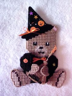 Witch Bear Plastic Canvas Finished Product by CanvasCreations4U, $6.25