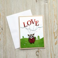 Handmade Love Card Valentines Day Card Owl by CharmingCardDesigns