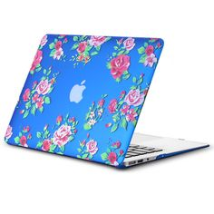 "Kuzy - AIR 13-inch Vintage Flowers BLUE Rubberized Hard Case for MacBook Air 13.3"" (A1466 & A1369) (NEWEST VERSION) Shell Cover - Vintage Flower BLUE"