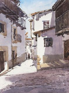 Watercolor Painting By Barahona - Art Collection Watercolor City, Watercolor Sketch, Watercolor Artists, Watercolor Landscape, Watercolour Painting, Painting & Drawing, Watercolors, Graffiti Pictures, Art Aquarelle