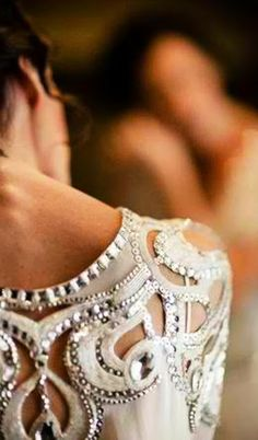Detail fashion wedding dress with cut outs and beaded embellishment
