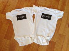 Ctrl c Ctrl v Twins Baby Onesie Copy and Paste