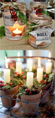 27 Gorgeous DIY Thanksgiving & Christmas Table Decorations & Centerpieces 27 gorgeous & easy DIY Thanksgiving and Christmas table decorations & centerpieces! Most can be made in less than 20 minutes, from things you already have! - A Piece of Rainbow Dinner Table Centerpieces, Xmas Table Decorations, Diy Christmas Decorations For Home, Holiday Centerpieces, Decoration Table, Thanksgiving Decorations, Christmas Tea Party, Noel Christmas, Simple Christmas