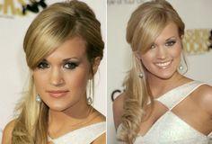 Penteados de Carrie Underwood: Rabo de cavalo lateral!   cabelo carrie underwood penteado lateral franja 2