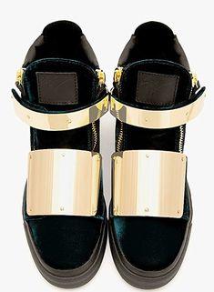 2dc2fa2e1e57 Giuseppe Zanotti Homme London RDU329 Velvet Green Gold Plated High Top  Sneaker Designer Herrenschuhe. Limitierte
