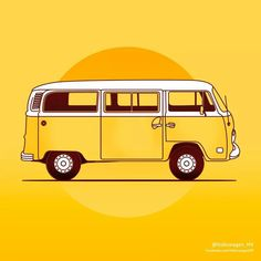 Combi Volkswagen Bus, Vw T1, Vw Camper, Flat Design Illustration, Car Illustration, Trippy, Combi T2, T6 California, Bus Art