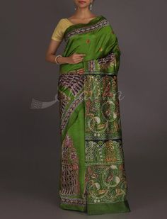 Tapti Madhubani Inspired #Kantha Work Pure #SilkSaree