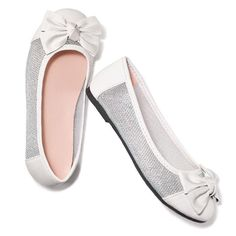 Tiny dancers will get a kick out of this adorable flat that features shimmery mesh along the sides. Man-made materials. Imported.While Supplies Last