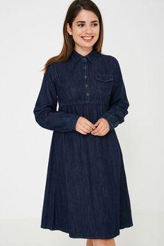 Dark Denim Long Sleeved Midi Prairie A-Line Dress Shirt Blue Cotton 8 - 16 Boho Dress, I Dress, Shirt Dress, 1920 Flapper Dresses, Blue Denim Dress, Casual Dresses, Denim Dresses, Long Jackets, Dark Denim