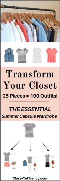 Create a Summer capsule wardrobe on a budget! This post is a preview of the E-Book, The Essential Capsule Wardrobe: Summer 2017 Collection. It reveals a few pieces in the capsule wardrobe and shows how you can mix and match those pieces for dozens of outfit ideas that you will love! You probably have several of these clothes and shoes in your closet already. Transform your closet today with this handy guide!